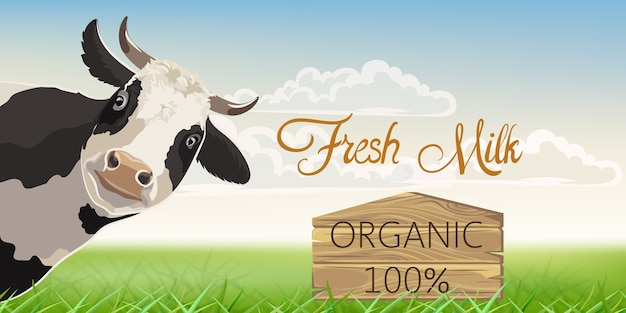 A cow with black spots with a meadow in background. organic fresh milk. Free Vector