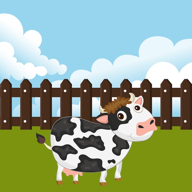 Cow in a yard Premium Vector