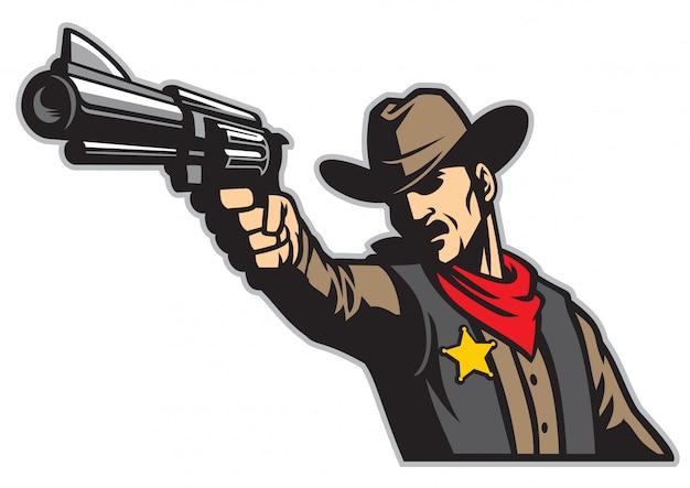 Cowboy aiming the gun Premium Vector