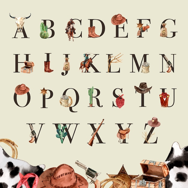 Cowboy alphabet with cow skull, cactus, money, gun Free Vector