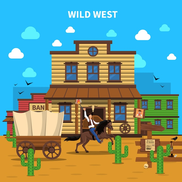 Cowboy background illustration Free Vector