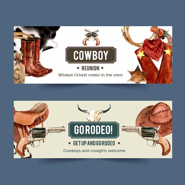 Cowboy banner with boots, rope, gun, boots, sack Free Vector