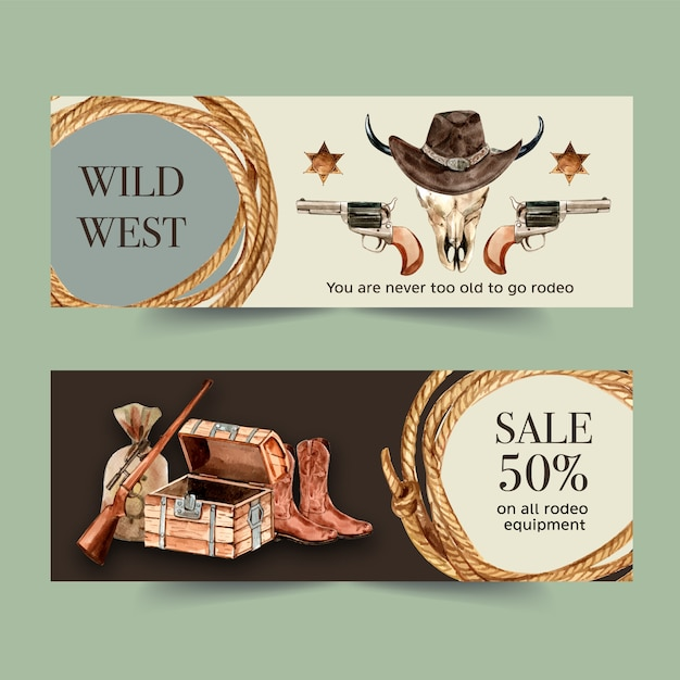 Cowboy banner with rope, hat, cow skull, gun Free Vector
