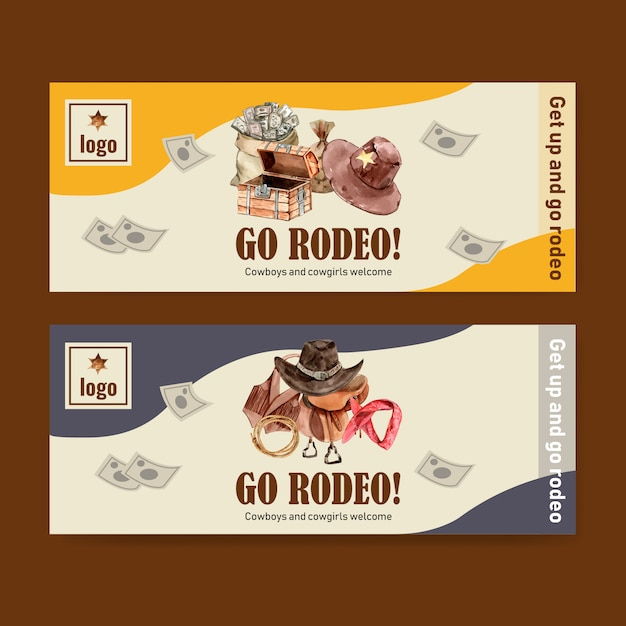 Cowboy banner with vest, saddle, chest, money, headband Free Vector