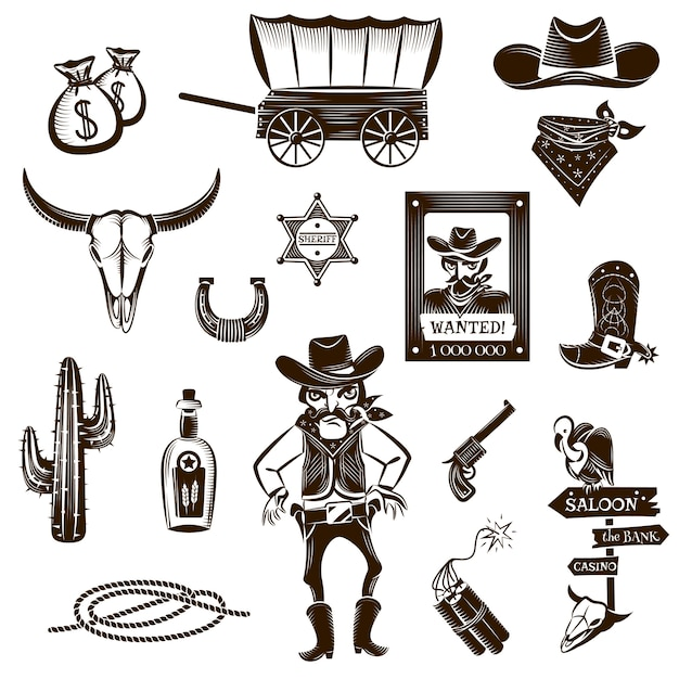 Cowboy black white icons set Free Vector