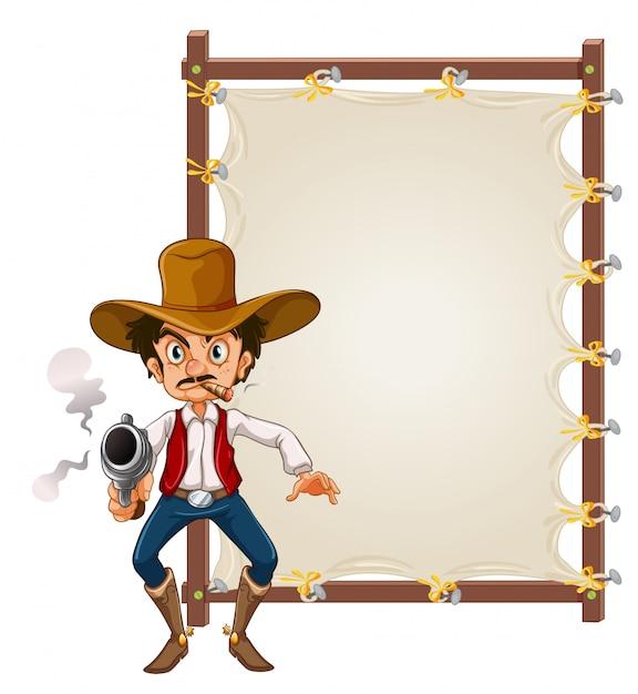 A cowboy on blank banner Premium Vector