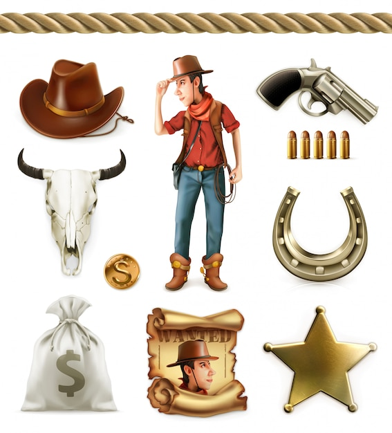 Cowboy cartoon character and objects. western adventure. Premium Vector