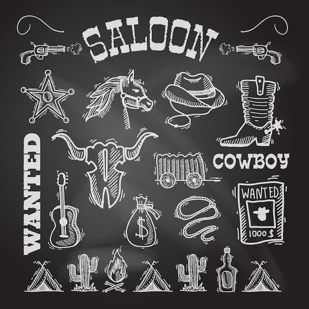 Cowboy chalkboard set Premium Vector