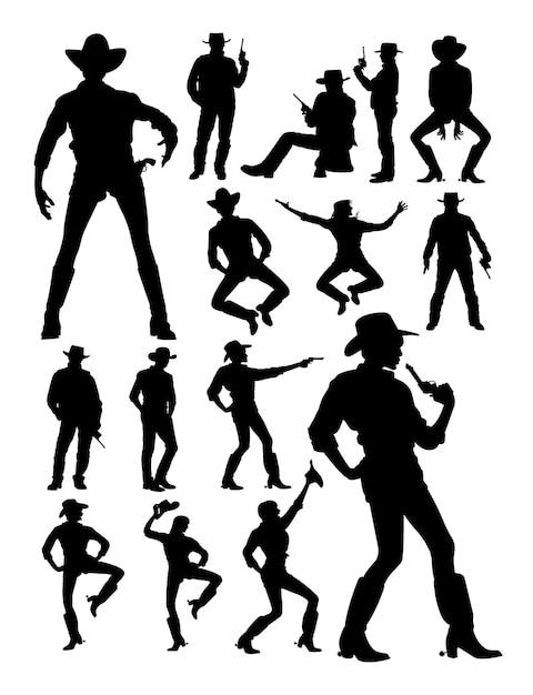 Cowboy and cowgirl detail silhouette Premium Vector