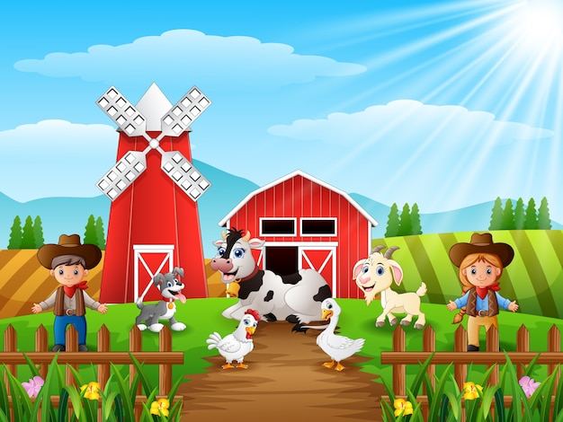 The cowboy and cowgirl at the farm with animals Premium Vector