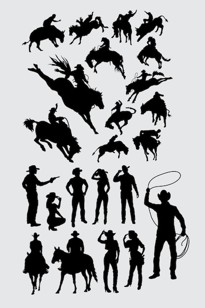 Cowboy cowgirl and rodeo sport silhouette Premium Vector