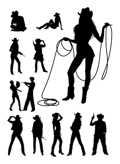 Cowboy and cowgirl silhouette Premium Vector