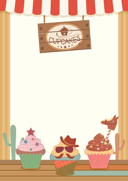 cowboy cupcakes party menu template for vertical premium vector