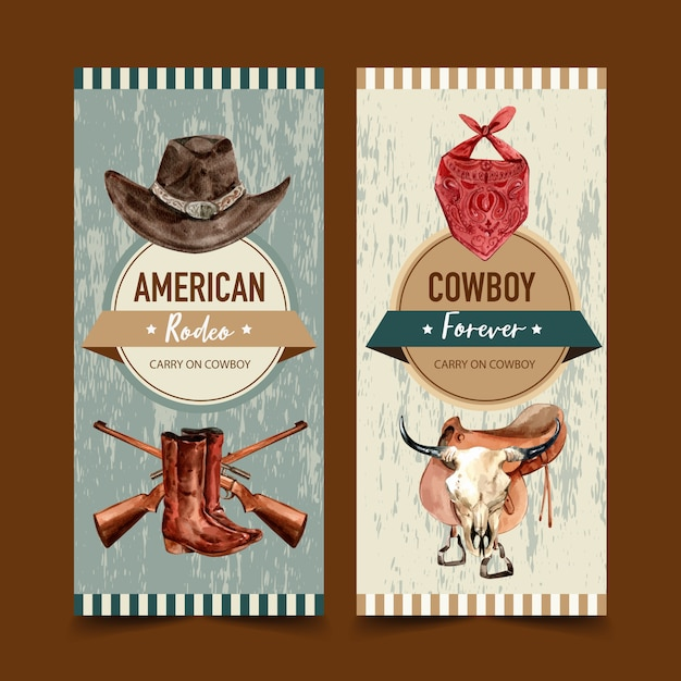Cowboy flyer with hat, scarf, gun, boots, cow skull Free Vector