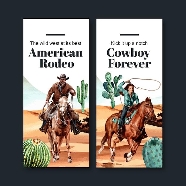 Cowboy flyer with horse, cactus, desert Free Vector