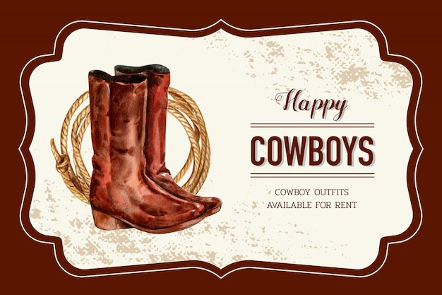 Cowboy frame with boots, rope Free Vector