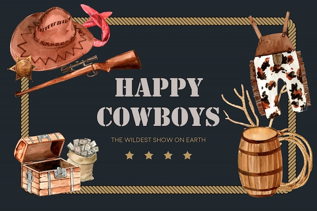 Cowboy frame with gun, hat, dungarees Free Vector
