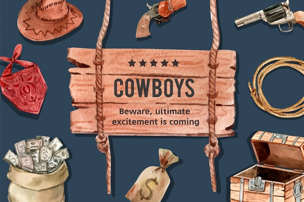 Cowboy frame with hat, gun, money, scarf Free Vector