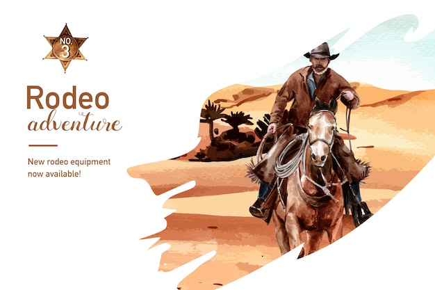 Cowboy frame with horse, person, desert Free Vector