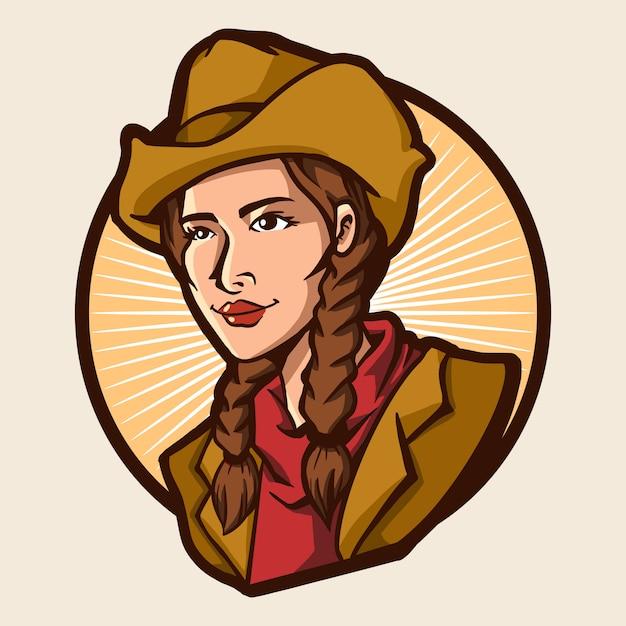 Cowboy girl vector illustration design isolated Premium Vector