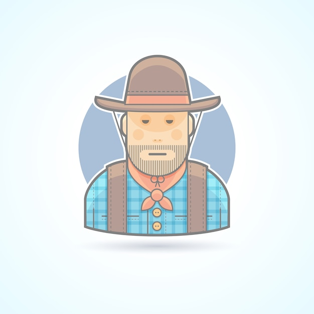 Cowboy in a hat and jacket, an american animal helder icon. avatar and person illustration.  colored outlined style. Premium Vector