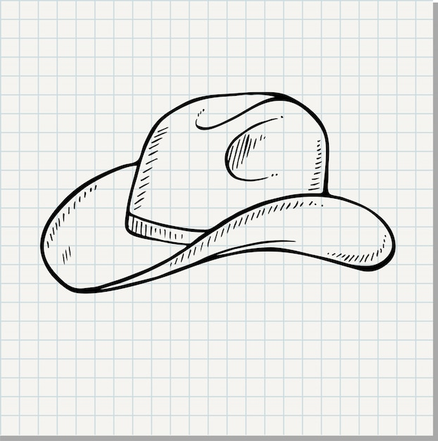 Cowboy hat - vintage engraved vector illustration (doodle style) Premium Vector