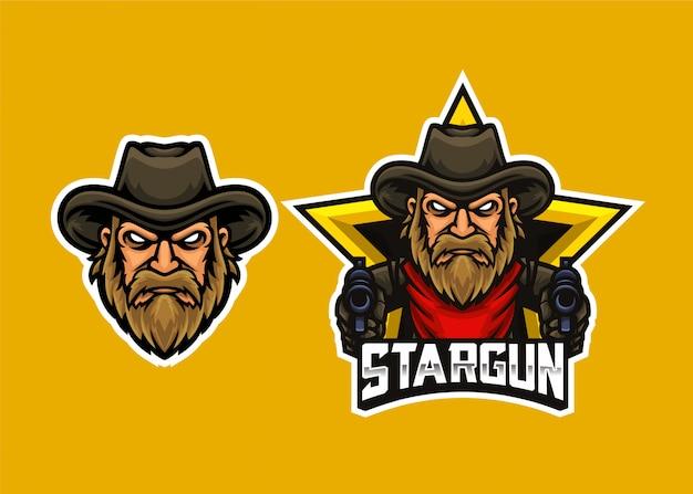 Cowboy head shooter esports logo template Premium Vector