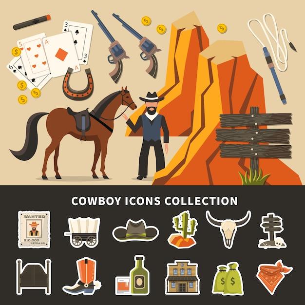 Cowboy icons collection Premium Vector