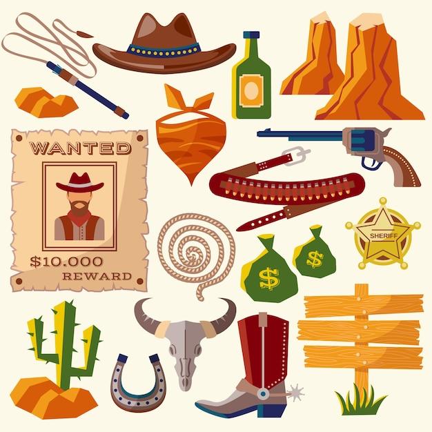 Cowboy icons flat Free Vector