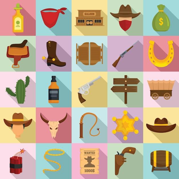 Cowboy icons set, flat style Premium Vector
