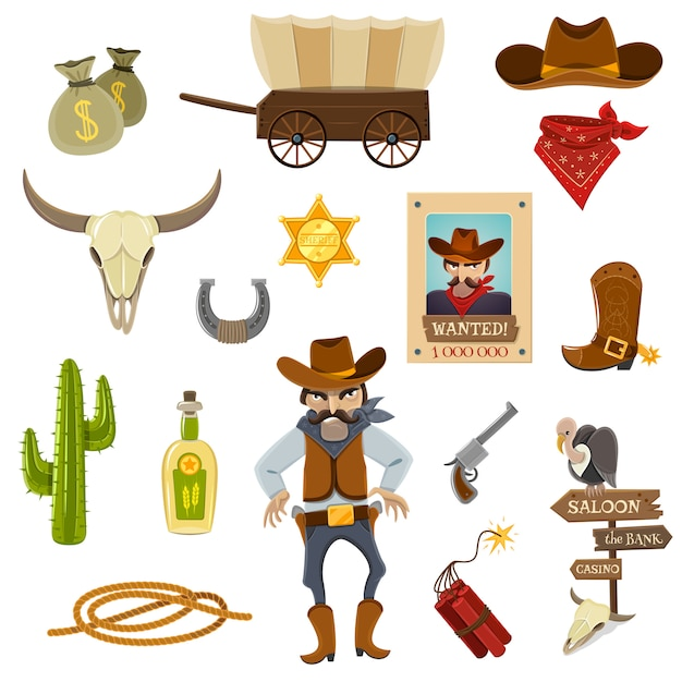 Cowboy icons set Free Vector