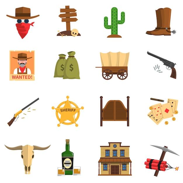 Cowboy icons set Free Vector