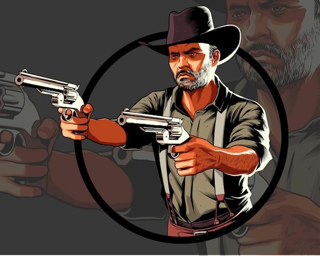 두 개의 권총을 가리키는 행동에 카우보이 프리미엄 벡터