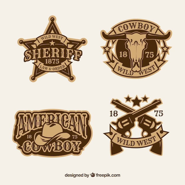 Cowboy label and badge collection Free Vector