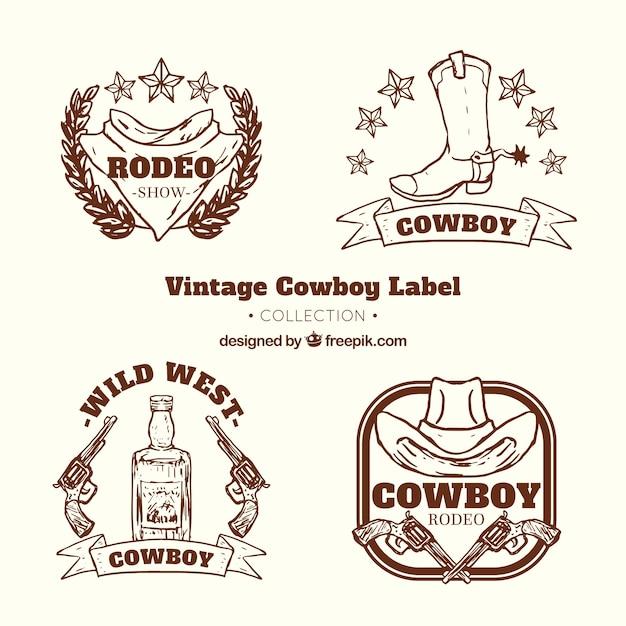 Cowboy label collection Free Vector