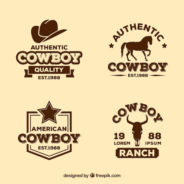 Cowboy label pack Free Vector