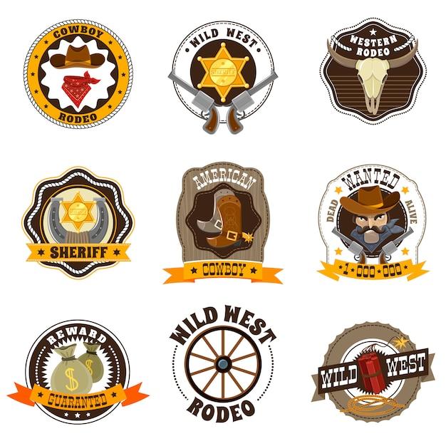 Cowboy labels set Free Vector