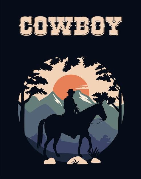 Ковбойские надписи на диком западе с ковбоем на лошади Premium векторы