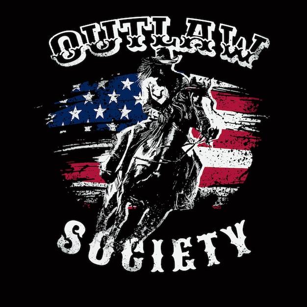 Cowboy outlaw illustration theme Premium Vector