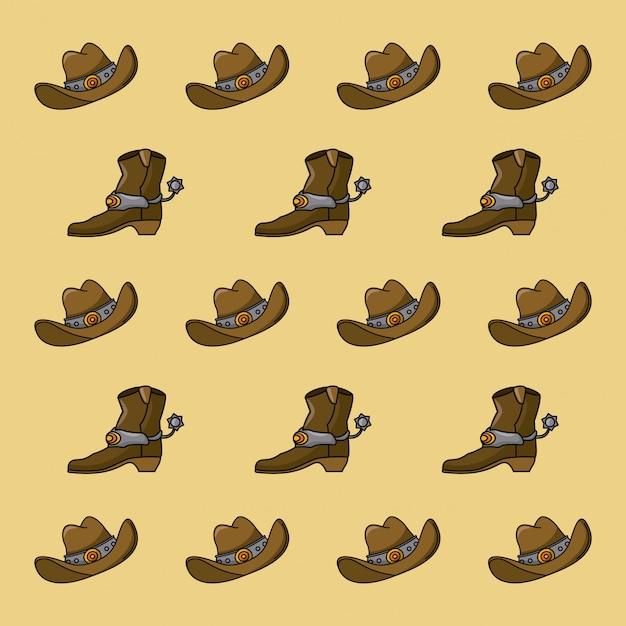 Cowboy pattern background Premium Vector