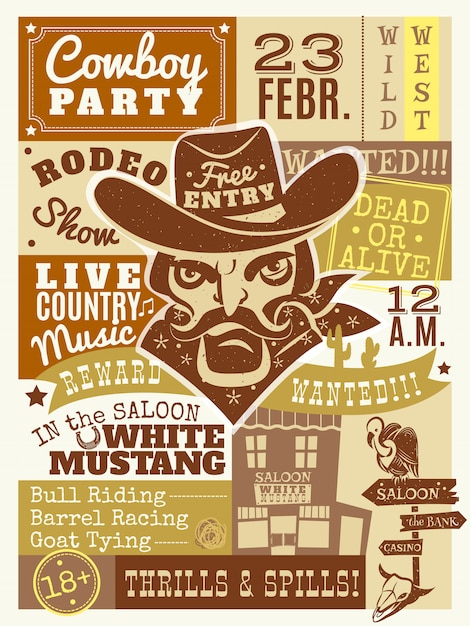 Cowboy poster illustration Free Vector