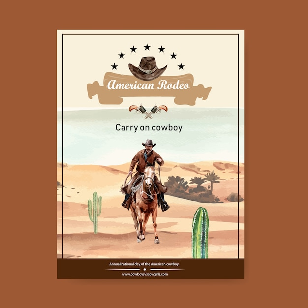 Cowboy poster with american rodeo Free Vector