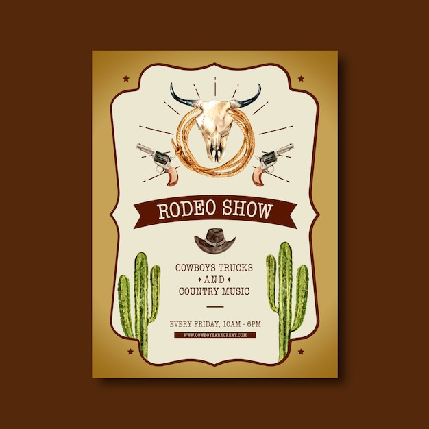 Cowboy poster with cow skull, cactus, hat Free Vector