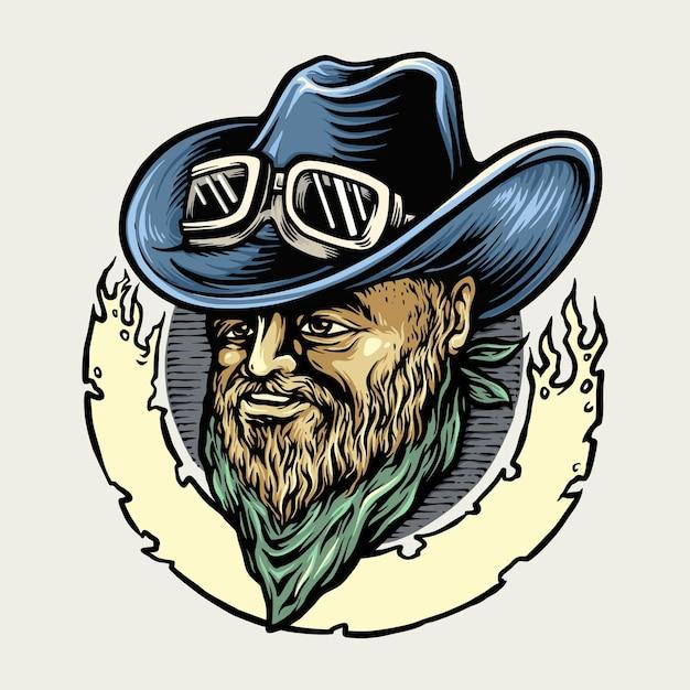Cowboy riders man mascot illustrations Premium Vector