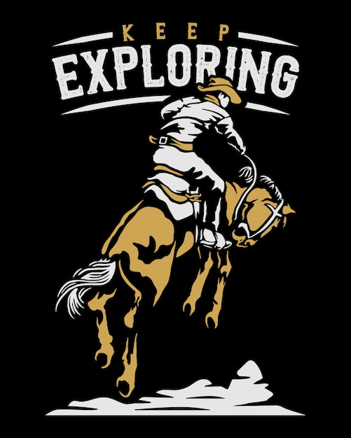 Cowboy rides horse illustration Premium Vector
