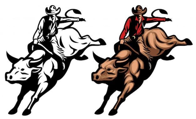 Cowboy riding the angry bull Premium Vector