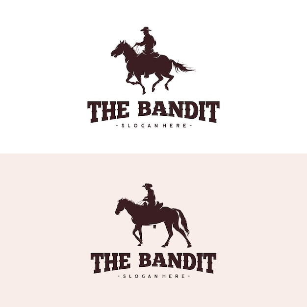 Cowboy riding horse silhouette logo design Premium Vector
