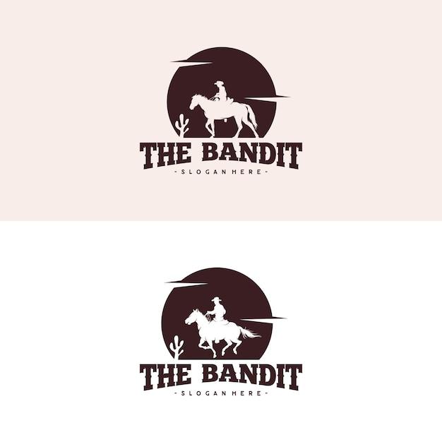 Cowboy riding horse silhouette at night logo Premium Vector