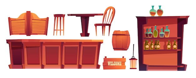 Cowboy saloon western retro bar  stuff set Free Vector