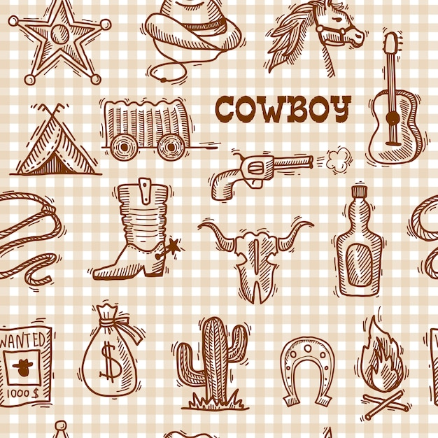 Cowboy seamless pattern Premium Vector
